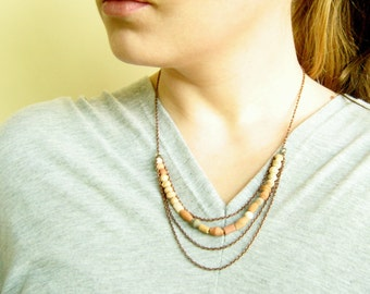 Layering Necklace, Multistrand Statement Necklace, Fair Trade Ceramic Necklace,Terracotta Clay Handmade Jewelry