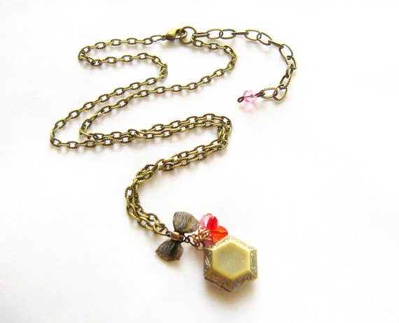 Small Locket Necklace, Geometric Hexagon Necklace, Charm Necklace