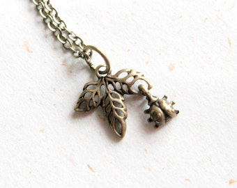 Little Ladybug with leaves Necklace (N284) - Tiny Little Ladybug