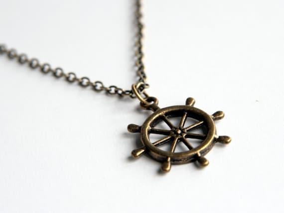 Vintage Look Ship Wheel Necklace (N014) in vintage brass color