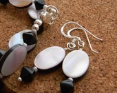 Pink Mother of pearl earrings Unique pink and black beads Spring fashion for women