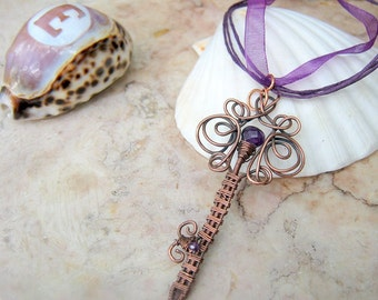Key Pendant Necklace with Amethyst in Copper