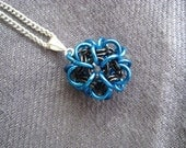 Chainmaille Ball Pendant - Porcupine in Blue and Black
