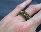 Chainmaille Mesh Ring in Antique Bronze
