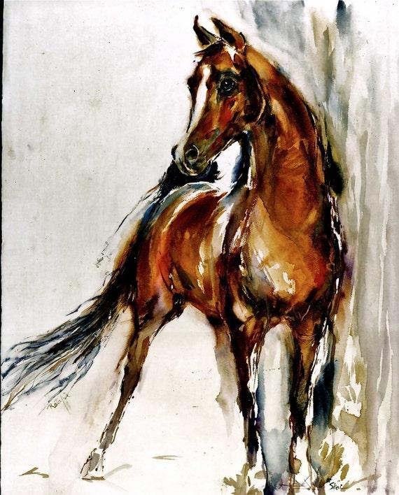 Simian Shi ARABIAN Arab Horse Watercolors Prints Double Matted