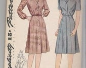 Simplicity 4746, Size 20 Shirtwaist Dress with Fly Front  from the 1940's