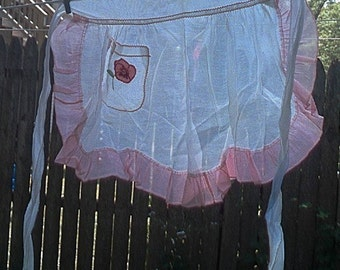 Vintage Pink and White Cotton Organdy Apron with Applique