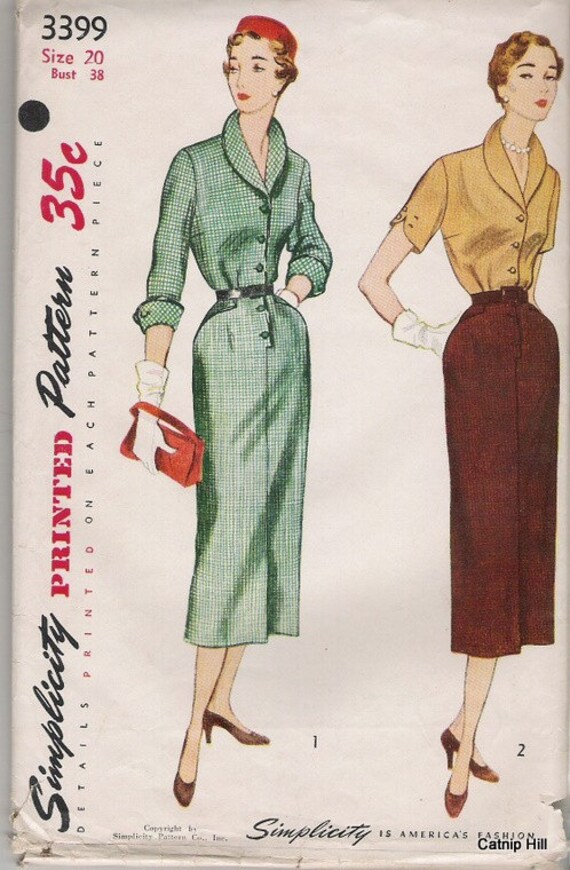 Simplicity 3399 Sz 38 Slim Dress or Blouse and Skirt from 1950