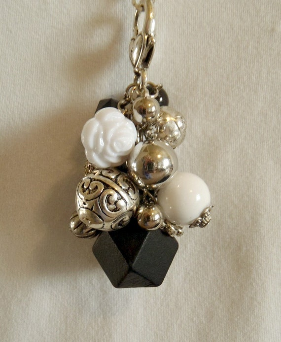 Chunky Black, White and Silver Cluster Charm