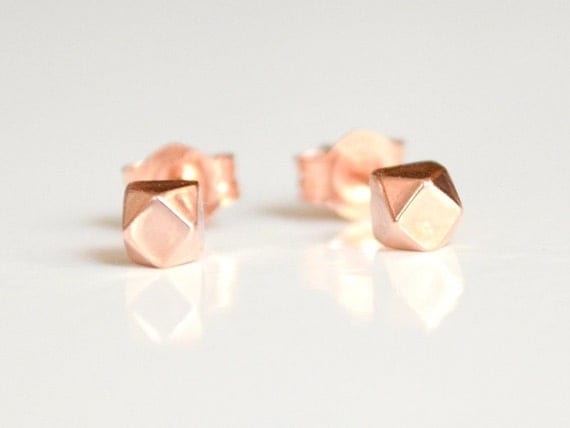 Solid 14k Rose Gold Stud Earrings - 14 K Pink Gold Eco Friendly Faceted Studs - 14 Kt Ethically Sourced Gold - Nickel Free Sensitive Ears