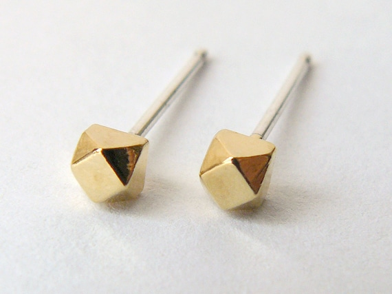 Gold Stud Earrings - Geometric Second Hole Cube Earings - Tiny Faceted Diamond Shape - Cartilage Studs - Ethical Jewelry - Gift Under 50
