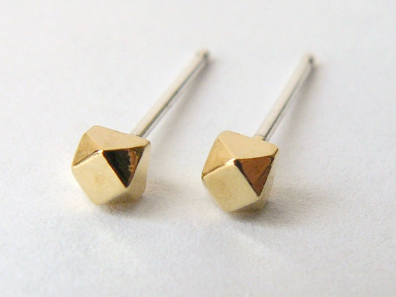 Gold Stud Earrings - Geometric Second Hole Cube Earings - Tiny Faceted Diamond Shape - Cartilage Studs - Ethical and Eco Friendly Jewelry