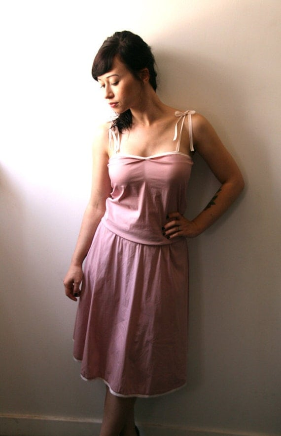 Buy 2 get 1 free sale / Pink cotton Slip dress with adjustable waist and lace straps, casual pink sundress - 70% Off - On sale