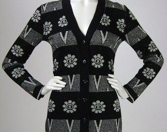 Vintage 70s Sweater, Cardigan, Geometric, Floral, Striped, Black, Silver, Lurex, Label: Harridge's, B32, Cocktail, 1970s, Funky Groove!
