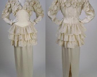 """Vintage 80s Ivory Silk, Wedding Dress , Bridal Gown, Ruffles, Rosettes, Sequins, Drop Waist, Long Sleeve, Peplum, Long Skirt, B 38"""", Size 14"""