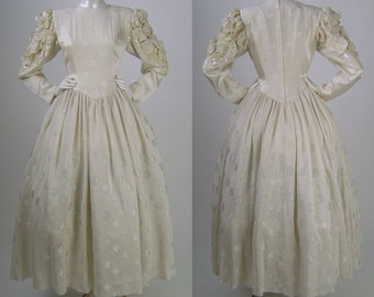 Vintage 80s Wedding Dress, Ivory Silk, Puffed Sleeves, Rosettes, Iridescent Sequins, Fitted, Gathered, Waist, Full Skirt, B40 W32, High Neck