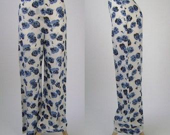 Vintage 1980s Womens Pants, Sonia Rykiel, Paris, Wide Leg, White with Two-Tone Blue Pansy Print, Rayon Linen Blend, W29