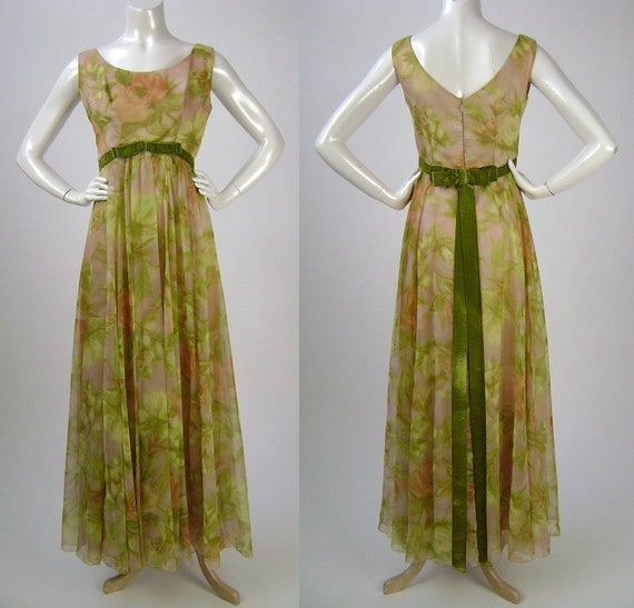 Vintage 1960s Dress, Sleeveless, V-neck, Long Empire Waist in Green with Peach and Blush Floral Print, B34 W28