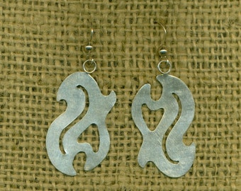 Dangle Sterling Earrings Silver Abstract Contemporary Artisan Metalwork  (E-303)
