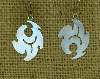 Abstract Earrings Sterling Silver Artisan Modern Contemporary Dangle (E-302)