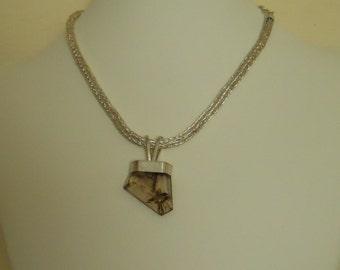 Etruscan Chain Necklace Rutilated Smoky Quartz Pendant Choker Fine Silver Loop in Loop Roman  (FSN-501)