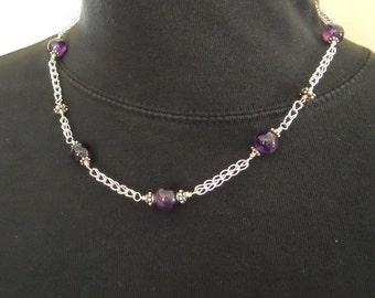 Etruscan Chain Necklace Bracelet Earring Set Fine Silver Amethyst Loop in Loop Roman Purple Single Strand  (FSN-510)