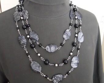Bib Necklace Sterling Silver Black Jasper Three Strand Beaded Statement Wire Wrapped Gemstone (M-156)