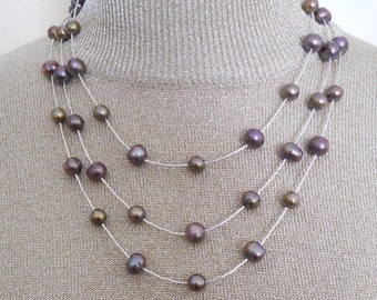 Pearl Necklace Triple Strand Sterling Statement Silver Rain Beads Freshwater Pearls Bib  (M-162)