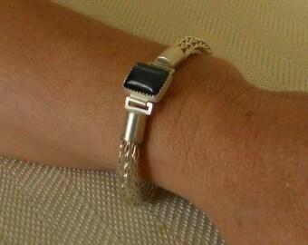 Etruscan Chain Bracelet, Fine Silver Loop in Loop, Roman, Hawk's Eye Clasp, Bangle, Gemstone, Metalwork  (FSB-301)