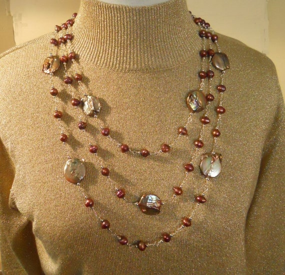 Pearl Necklace Earring Set Sterling Silver Triple Strand Bib Baroque Coin Pearls Wire Wrapped Statement  (M-139)