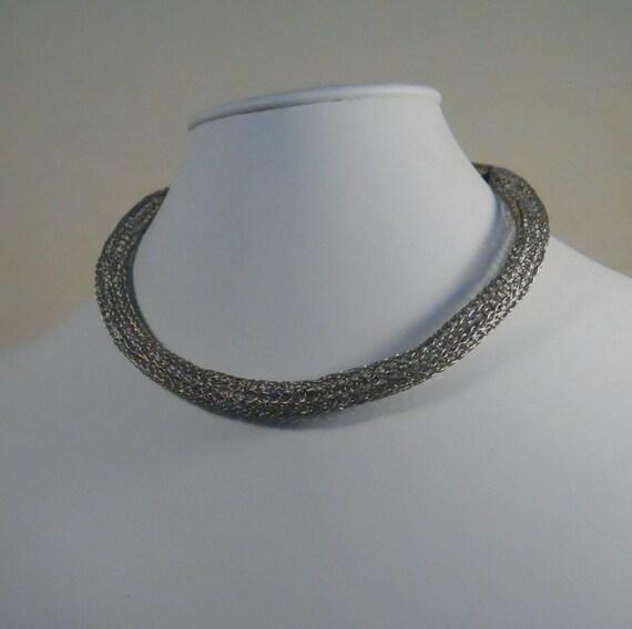 Viking Knit Necklace Bracelet Set Sterling Silver Choker  (WN-101)