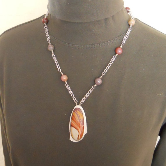 Fine Silver Chain Necklace Wonderstone Pendant Sterling Silver Loop in Loop Etruscan  Roman Strand Statement (FSN-401)