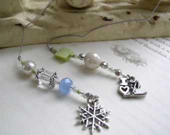 Sparkling Ski Lover's Bookmark - Beaded Book Thong in Ice Blue and Lime Green with Pewter Ski and Snowflake Charms