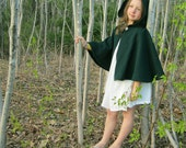 Kids Cape - Spruce Green Cape - Cape with Hood - Hooded Kids Cape