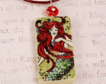 Mermaid Necklace - Mermaid Pendant - Domino Necklace - Red Crystal