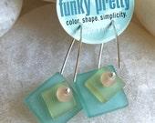 Glass Earrings with Handmade Silver Ear Wires Like Seaglass or Beach Glass Seafoam Pink