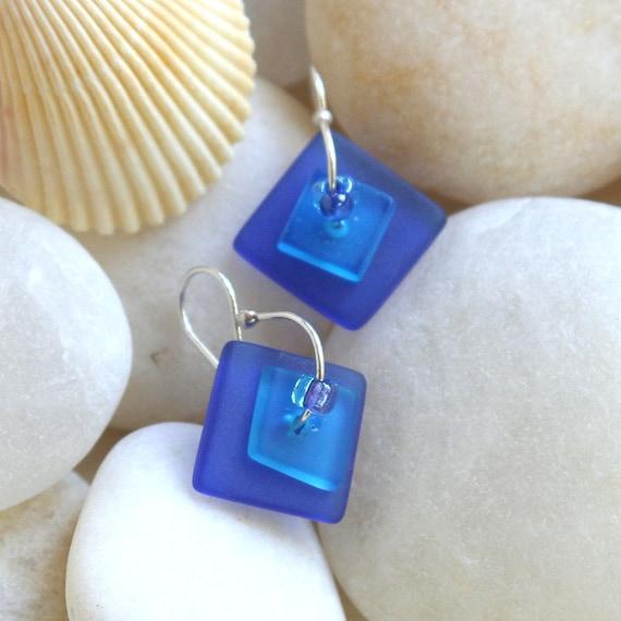 Earrings Blue Frosted  Beach Glass Earrings Faux Beach Glass Like seaglass