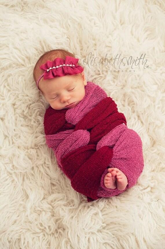 Fabric Headband. NORA- Bright Pink. Fuchsia. Vintage. Baby Girl. Newborn. Skinny Elastic. Ruffled. Rhinestones