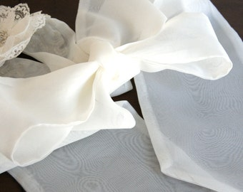 Organza Plain Bridal Sash Sheer in Ivory or Soft White with Tails