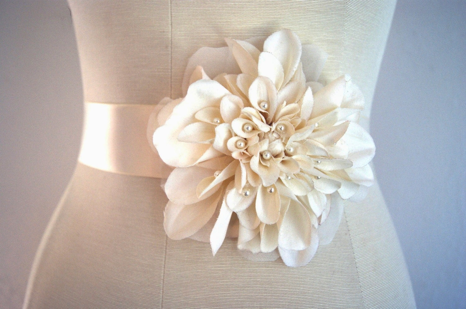 Flower Bridal Sash SWEET DAHLIA Wedding Dress by VenustBridal
