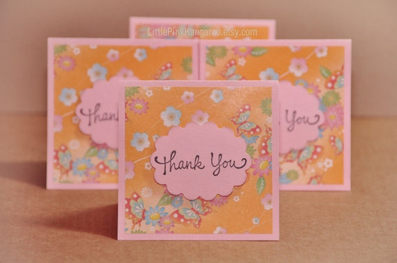 Mini Thank You Cards Customer Thank you Cards Butterfly Kisses