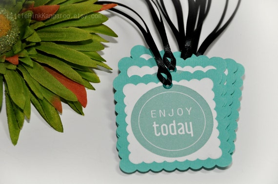 Enjoy Today Gift Tags  Handstamped  Packaging Tags hand tags Scallop Square
