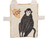 Original Pencil Drawing of Monkey, Mixed Media Art Object, Animal Wall Decor, Miniature Cat, Geometry Art, 猴子, Affe Zeichnung,Dessin Crayon