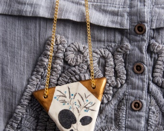 Triangle Pendant, Geometric Pendants, Geometry Necklace, Nature Jewelry, Golden Triangles, Flowers Drawing, Woodland, Air Dry Clay, Biology