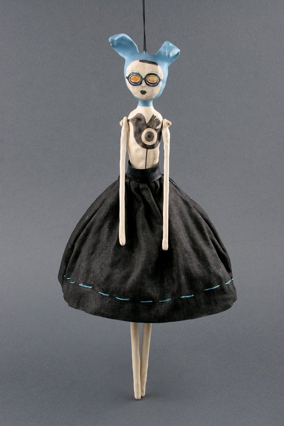 Hanging Clay Art Doll - Azure - SALE
