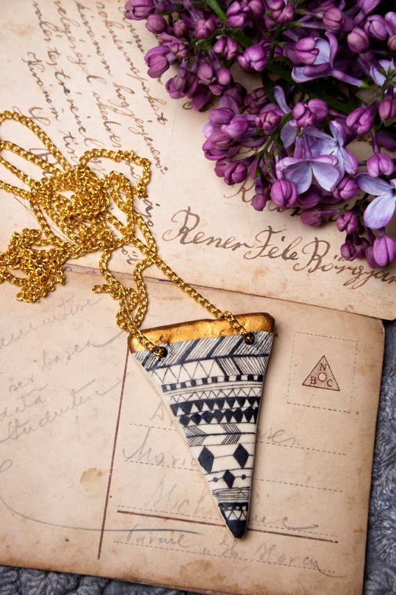 Tribal Geometrical Golden  Pendant Necklace - I Love Geometry - FREE SHIPPING