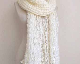 Bridal Shawl // OFF-WHITE shaw // Ivory Mohair Honey Comb Shawl-wedding bridal shawl.knitting,necktie,shrug, wrap, stole,