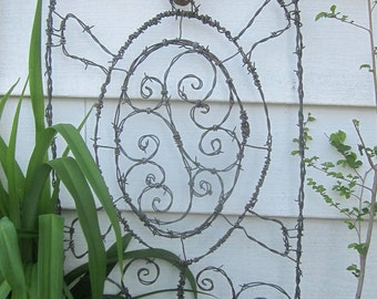 Glass Eyed Turtle Barbed Wire Trellis Garden Art Made to Order