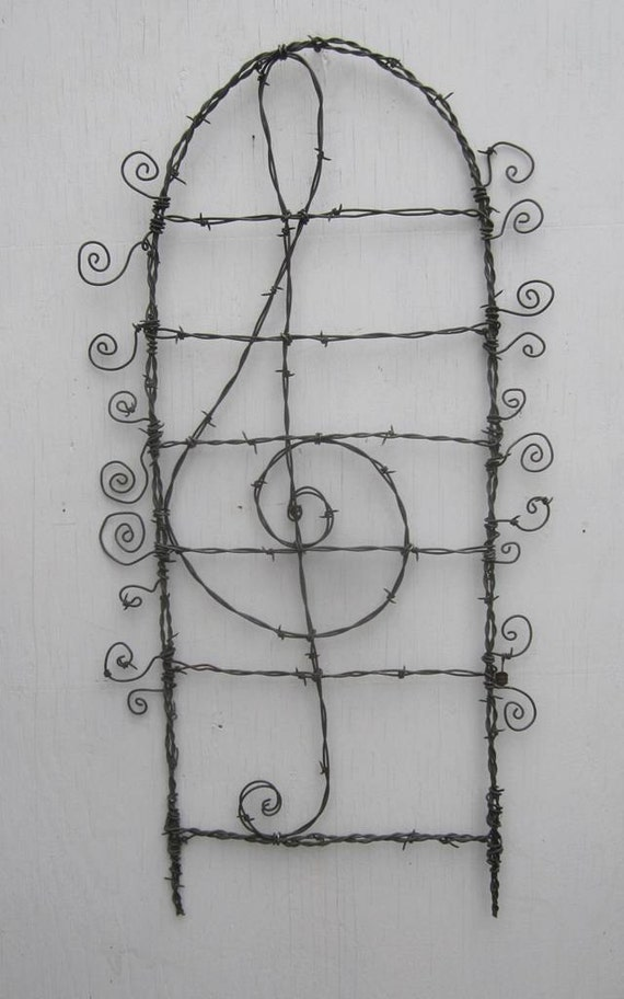 Lovely Lyrical Treble Clef Barbed Wire  Garden Trellis Made To Order