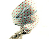 Dippin Dots Ice Blue with Pink Polka Dots Fabric - Dog Leash